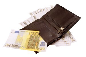 Black purse with euros