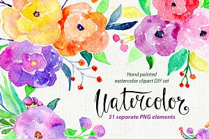 Bright colorful watercolor flowers