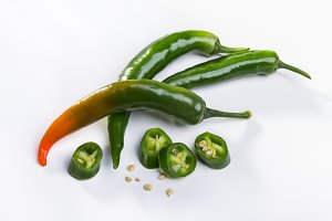 Green pods of spicy pepper