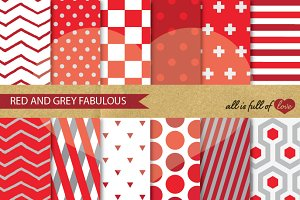 Geometric Background Papers Red Grey