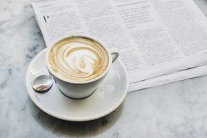 Coffee and Danish Newspaper