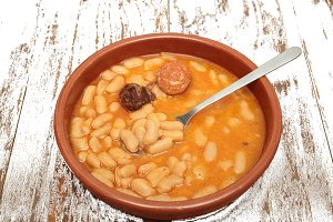 Asturian bean stew in a clay pot
