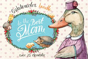 Watercolor bundle - Best mom