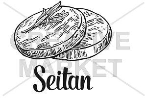 Seitan. Vector vintage engraved