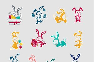 Easter Rabbit Icon Set