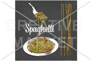 Spaghetti on fork and plate