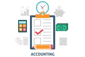 Accounting concept icons flat