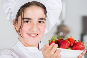 Teen girl in the kitchen