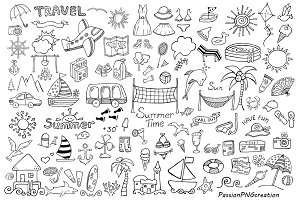 BIG SET of Doodle Summer cliparts