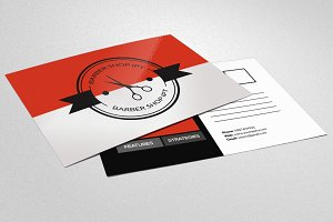 Barber Shop Postcard Template