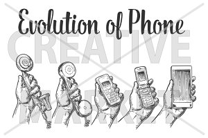 Evolution phone. Hand man
