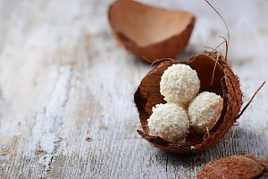Coconut candies with almonds