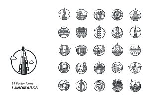 Landmarks outlines vector icons