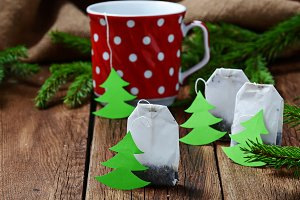 Tea bag with Christmas tree label
