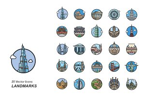 Landmarks color vector icons