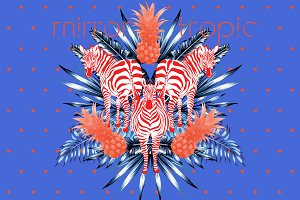 Mirror tropic. Vector prints