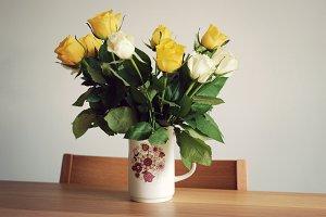 Roses in a vintage jug