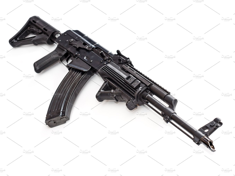 Tactical Custom Built AK-47 AKM Rifle On White Background