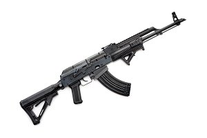 Tactical custom built AK-47 rifle on white background