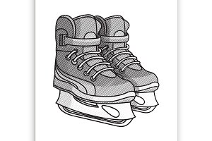 Etching ice skates