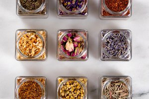 Herbs and Spices in Jars