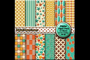 Aqua Orange Scrapbook Digital Paper