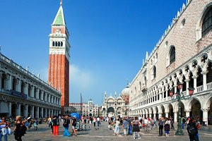 Venice, Italy - October 06, 2012: Piazza San Marco with crowds of people