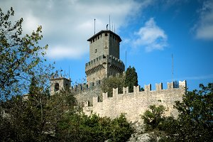 San Marino, Republic of San Marino - October 10, 2012: Guaita tower, Rocca tower or First tower, 11th century