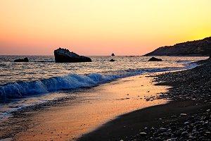 Cyprus coast before sunset near Petra Tou Romiou