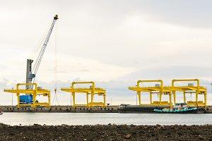 Crane in harbor