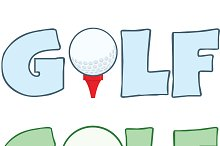 Golf Text With Golf Ball Collection