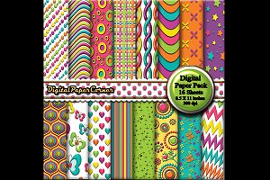 Bright Colors Embossed Digital Paper