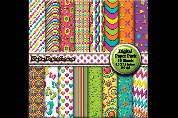Bright Colors Embossed Digital Paper