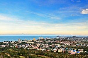 Hight angle view Hua Hin city