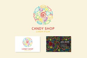 Candy shop logo, seamless patterns