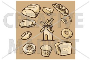 Bakery set icon.