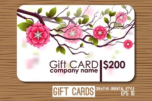 Oriental gift card with flowers