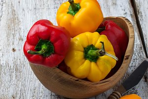 Red and yellow bulgarian pepper