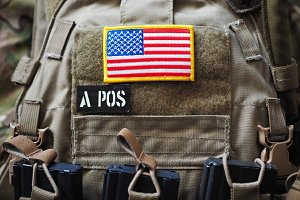 Plate Carrier with USA flag and blood type patches