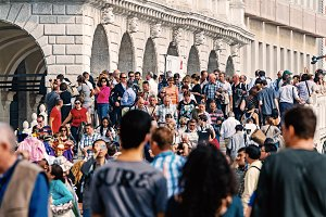 Venice, Italy, October 06, 2012: Piazza San Marco with crowds of people