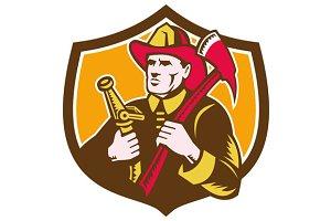 Fireman Firefighter  Axe Hose Crest