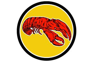 Red Lobster Circle Retro