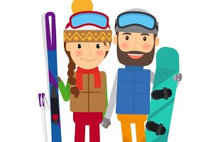 Young couple with ski and snowboard