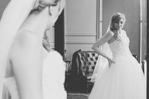 Beautiful Bride in Mirror