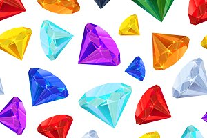 Bright colourful gemstones on white