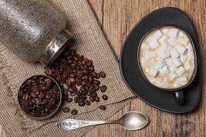 Cup of coffee with marshmallow