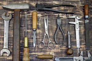 A collection of vintage tools