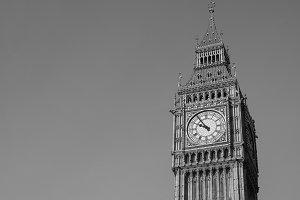 Big Ben in London in black and white