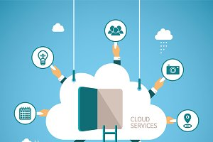 Cloud services flat style