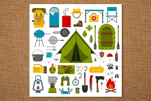 Camping Icons and Hiking Gear